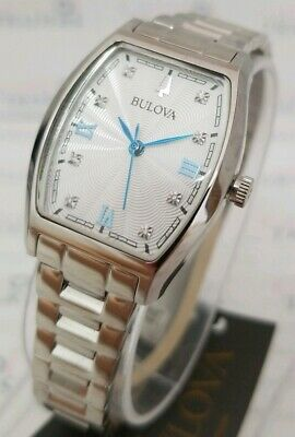 Bulova 96P203 Women's 27mm Diamond Accent Stainless Steel Tonneau Watch **NWT**