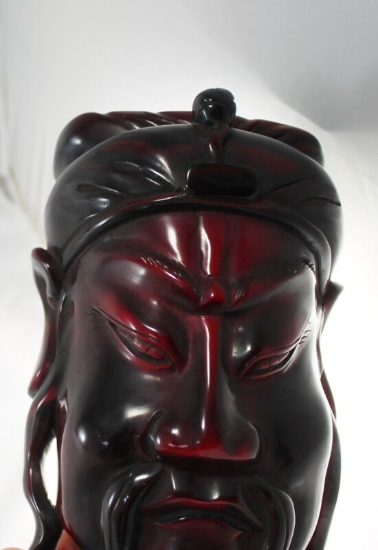 Vtg Red Bakelite Chinese Asian Face Large Mask Wall Decor Paperweight 670 grams