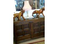 Lovely Vintage Art Deco Oak Wooden Sideboard / Cupboard. Lockable