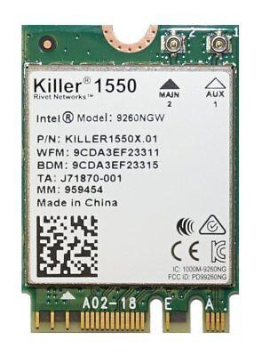 Killer Wireless-AC 1550 WiFi Module -Dual Band 11AC, M.2/NGFF