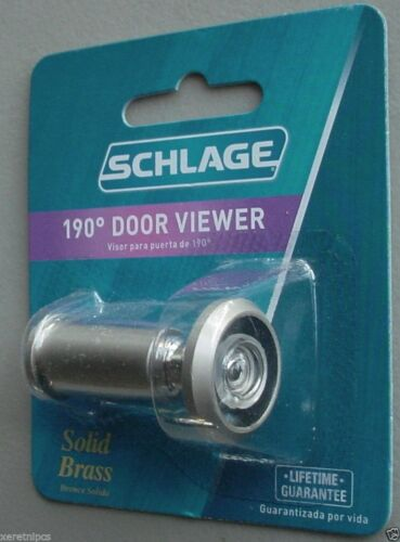 Schlage Solid Brass 190 Degree Wide Angle Door Viewer Scope Peephole SC698P-B619