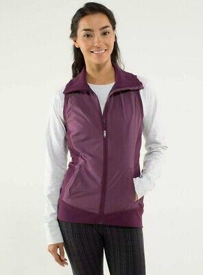 LuLuLemon Women's 2 WON'T STOP VEST Hyper Stripe  Pockets Plum Purple READ
