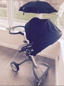 Stokke Explory V3 Pram with Carry Cot and seat - Navy.