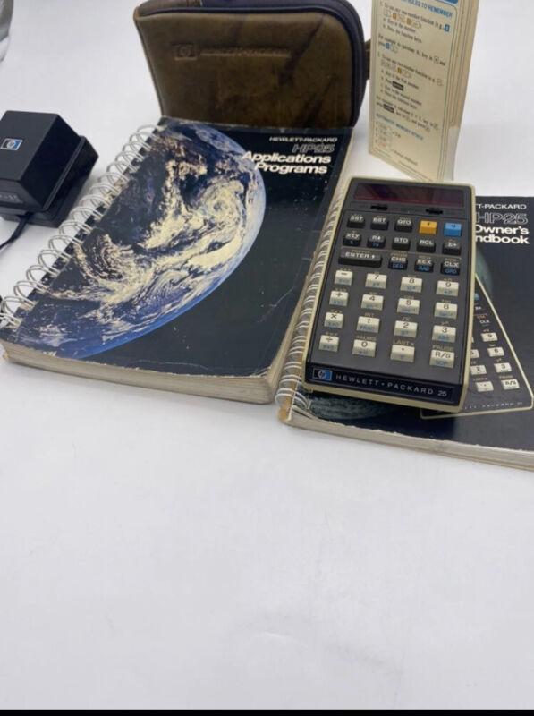 Vintage Hewlett Packard HP-25 Scientific Calculator Computer With Accessories