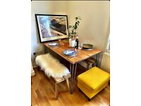 Wooden dining table, desk, bench, coffee table with industrial hairpin legs