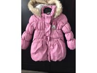 Pink Minnie Mouse coat with fleece lining 12-18months