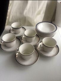 Vintage antique china white, navy and gold detailing, cups saucers and bowls