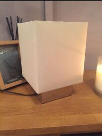 IKEA Ivory Mirrored Square Fabric Lamp