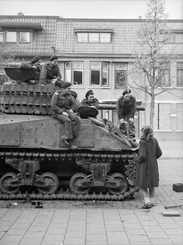 WW2  Photo WWII Canadian M4 Sherman Tank Crew Netherlands  World War Two / 1633