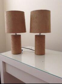 2 beige bedside lights