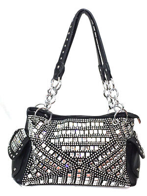 Zzfab Gem Studded Bling Purse Rhinestone Concealed and Carry Purse Black