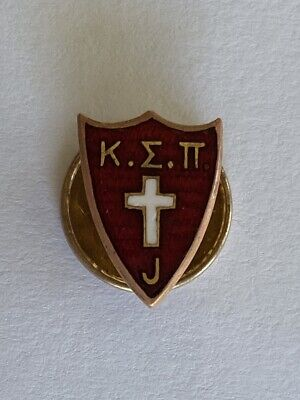 Kappa Sigma Pi fraternity Pin Badge gold letters red shield Green Duck Co 1900s