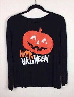 Old Woman Happy Halloween (Old Navy Women's Large T-Shirt Happy Halloween Jack O Lantern Black Long Sleeve)