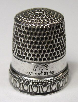Antique Simons Brothers Sterling Silver Thimble Egg & Dart Pattern  Dtd 1898