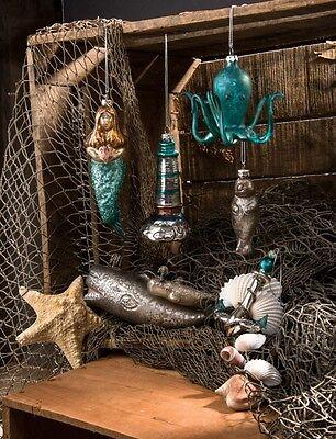 Glass Octopus Whale Dolphin Mermaid Anchor Christmas Ornament Primitives Kathy