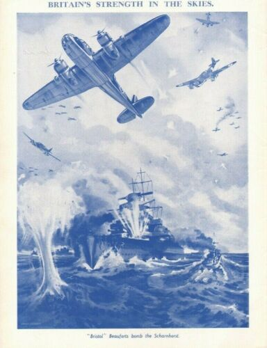 1940 Britain Strength in Skies - Bristol Beauforts bomb Scharnhorst - Vintage Ad