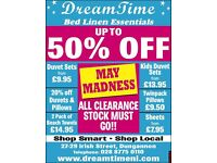 Dreamtime Bed Linen - MAY MADNESS SALE - UP TO 50% OFF instore today @ 27/29 Irish St Dungannon