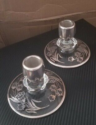 Pair Of Vintage Crystal Candle Holders With Sterling Silver Flower designs