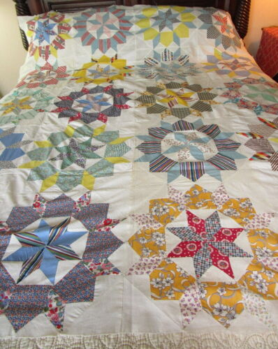Vintage 1930s handmade QUILT TOP ~ STARS w/in STARS ~ plaid floral stripe  80x62
