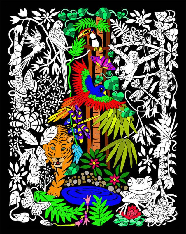 Rainforest - Large 16x20 Inch Fuzzy Velvet Coloring Poster