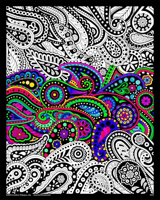 Paisley - Large 16x20 Inch Fuzzy Velvet Coloring Poster
