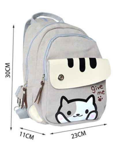 Neko Atsume ねこあつめ Cat Student School Backpack Kawaii Shoulder Messenger Bag