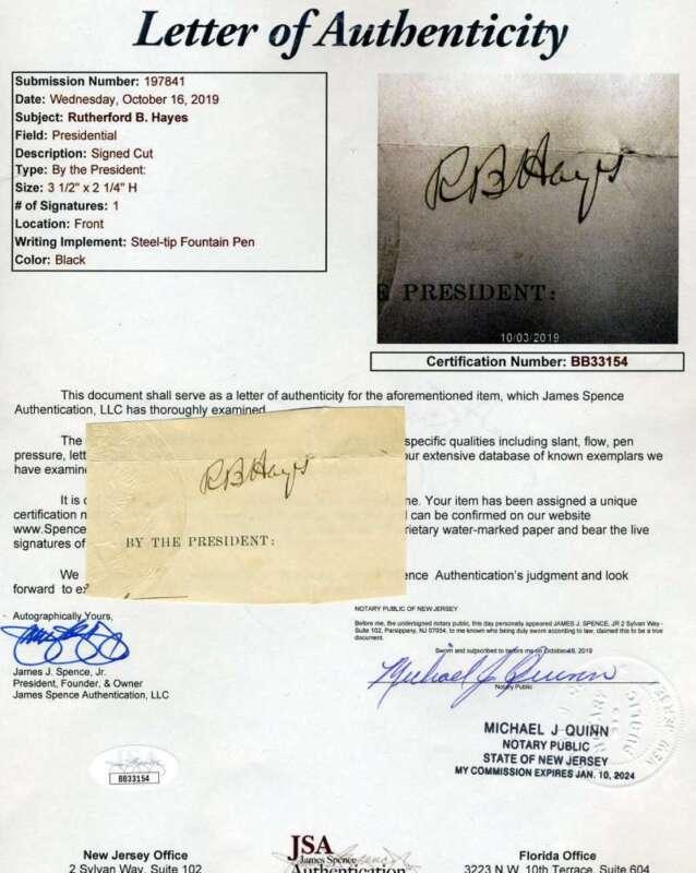 Rutherford B Hayes JSA Coa Signed Cut Autograph