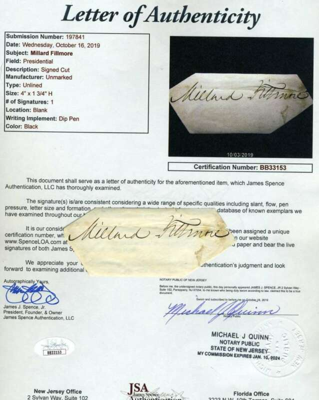 Millard Fillmore JSA Coa Signed Cut Autograph