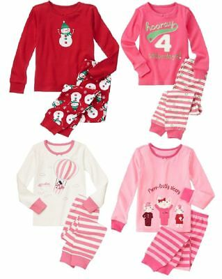 Girls Holiday Pajamas (Gymboree Gymmies girls pajamas New NWT Girls 6 Holiday Pink Kitten Snowman)