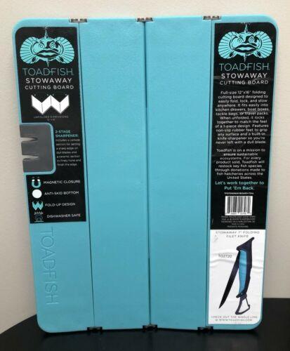 "TOADFISH Stowaway Folding Cutting Board w/ Knife Sharpener 12"" x 16""  NEW"