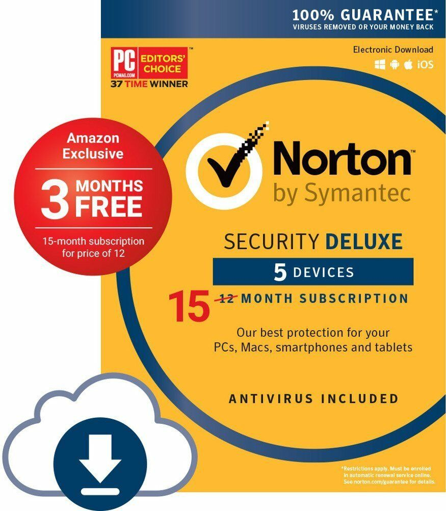 15 Months Subscription Norton Security Deluxe 5 Device