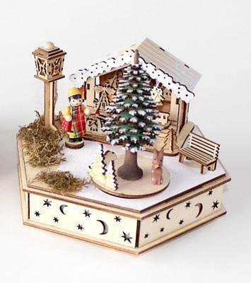 180 Degrees Bavarian Chalet Wooden Music Box Christmas Village Scene Decor (Christmas Scenes Decorations)
