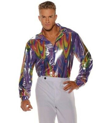 Men's Disco Shirt Shiny Long Sleeve Adult Costume Accessories 60s 70s Std-XXL - Mens 70s Disco Costumes