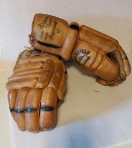 Vintage Pair Hockey Gloves Cooper Armourist Professional Cowhide!