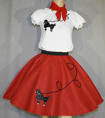 3 PC Red 50's Poodle Skirt outfit Girl Sizes 7,8,9 Waist 20