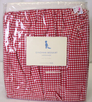 Pottery Barn Kids RED Gingham Baby Crib COT BED Skirt New in the Package NIP for sale  Shipping to India