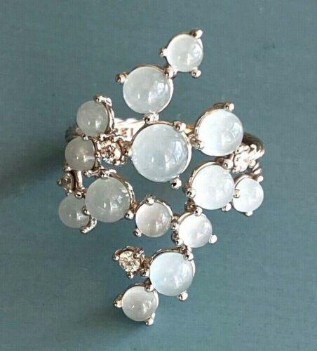 Designer PAUL MORELLI ~ Aquamarine & Diamond 18K White Gold BUBBLE RING ~$3000+