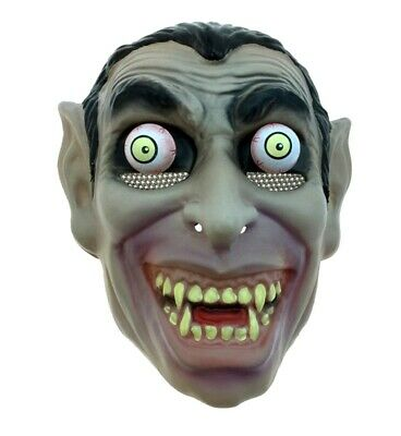 Dracula Plastic PVC Half Mask Moving Eyes Vampire Halloween Costume Accessory - Moving Halloween Masks