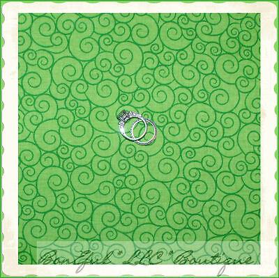 - BonEful Fabric Cotton Quilt Lime Green Grinch Xmas Small Swirl Scroll Dot  SCRAP