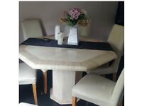 Italian marble dining table with 6 leather chairs