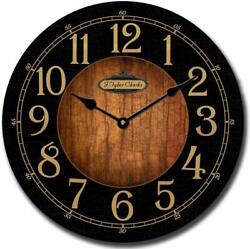 Large Wood Wall Clock 15 Black Gold Numbers Round Rustic Home Decor Non Ticking