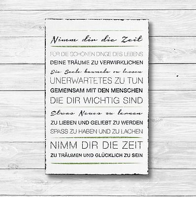 Dekoschild Shabby Chic Vintage Geschenk Schild Wandschild DIE ZEIT 20 x 30 cm