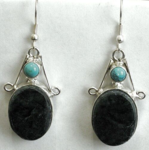 Sterling Jasper & Turquoise Earrings