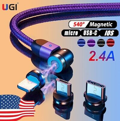 US 360°/180° Fast Magnetic Cable Type C Micro USB Charger Cord For Android Phone