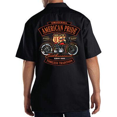 Dickies Black Mechanic Work Shirt American Pride USA Classic Motorcycle Biker