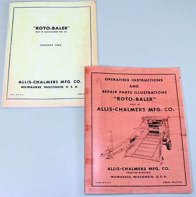 Lot 2 Allis Chalmers Roto Baler Operating And Repair Manuals Service Shop Owners