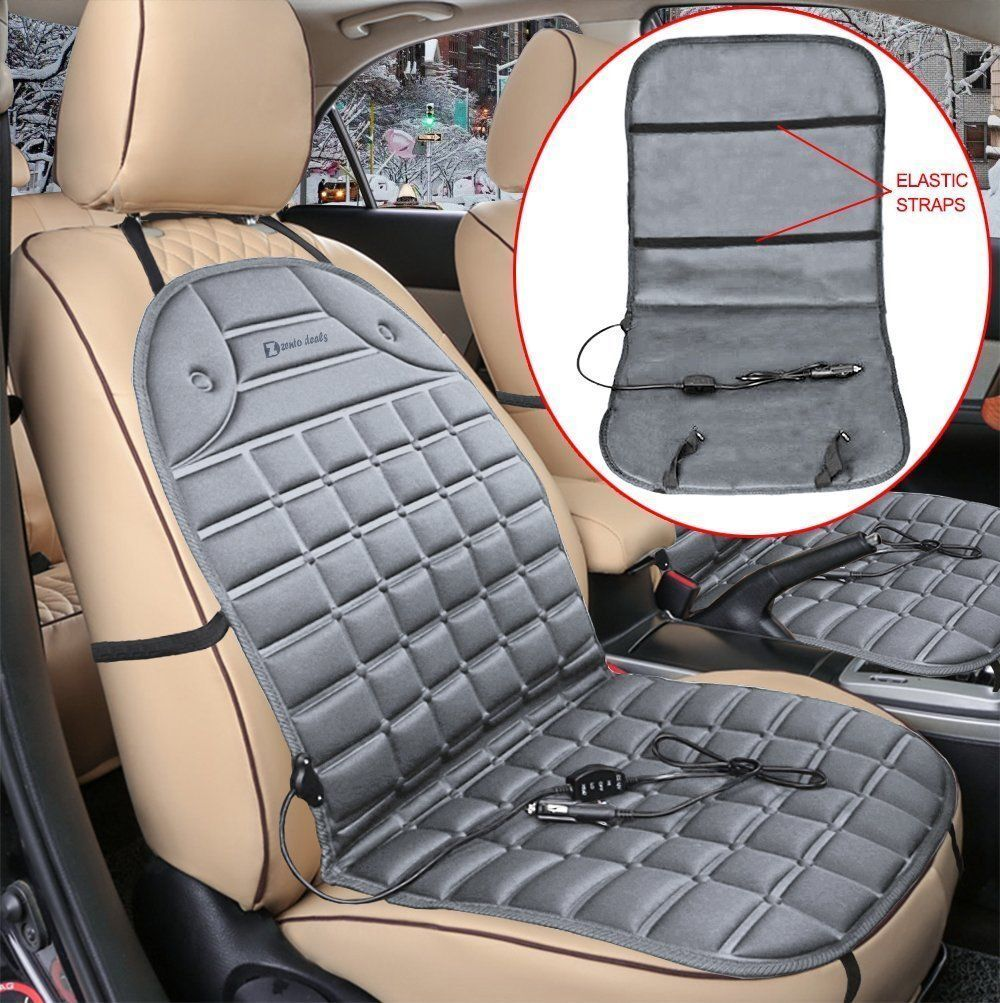 Zento Deals Hot 12V Gray Warm Cushion Heated Car Seat Cover (2 Pack)
