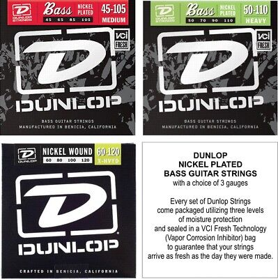 (Dunlop Bass Guitar Strings - Nickel Plated - with a choice of 3 Gauges )