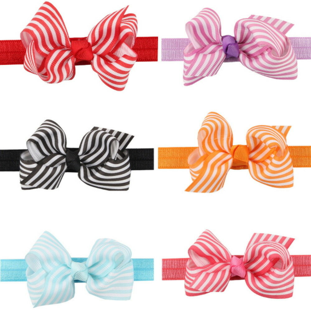 6 Pcs Cute Girl Baby Toddler Infant Flower Headband Hair Bow Band Accessories Baby