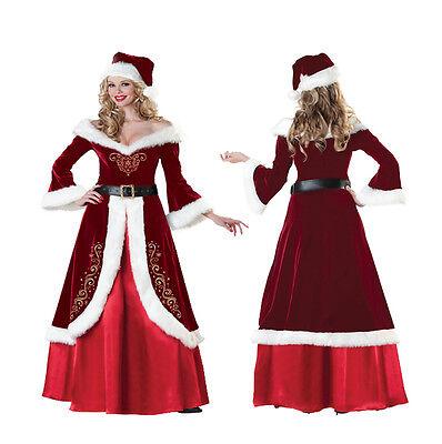 Deluxe Mrs Claus Santa Claus Costume Christmas Long Dress Uniform Xmas Outfits - Santa Uniform